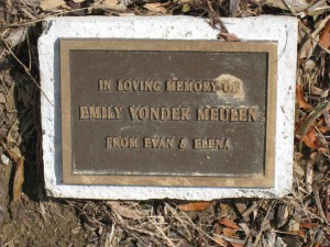 Emily Tree Cemetery Plaque